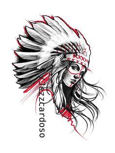 Leg Tattoos, Arm Tattoo, Body Art Tattoos, Sleeve Tattoos, Inca Tattoo, Indian Girl Tattoos, Indian Skull Tattoos, Native American Tattoos, Native Tattoos