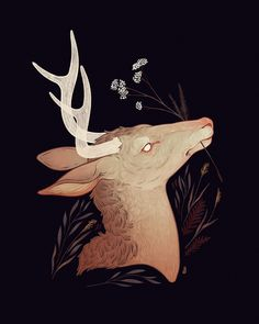 And when you close your eyes again, they open in a different head. -- Art print on thick, archival matte paper (prints and posters are of the same material and quality--the only difference is their size!) - Online Store Powered by Storenvy Pretty Art, Cute Art, Animal Drawings, Art Drawings, Deer Illustration, Deer Art, Stag Deer, Aesthetic Art, Art Inspo