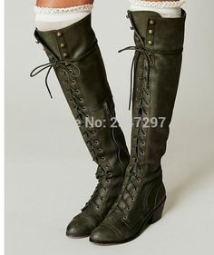 101.90$  Watch now - http://ali38o.worldwells.pw/go.php?t=32722883191 - Fall vintage Elegant Women Knee-high Boots Fashion Lace Up Square Heels Boots Army Green High-quality Shoes Woman Free Shipping