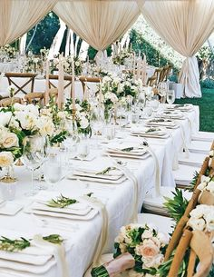 The Dreamiest Springtime Ranch Wedding is part of Garden wedding reception - An elegant spring wedding at the San Ysidro Ranch with a luxe allneutral tablescape covered in candles, florals and dreamy white draping Wedding Table Decorations, Wedding Table Settings, Wedding Themes, Wedding Centerpieces, Spring Decorations, Tent Decorations, Centerpiece Ideas, Tent Wedding, Garden Wedding