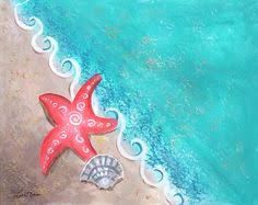 Beach Scene Canvas Painting by Lisa Melia. This one is called Twinkle Twinkle Li. Home Painting Beach Canvas Paintings, Easy Canvas Painting, Heart Painting, Acrylic Canvas, Diy Painting, Painting & Drawing, Beginner Painting, Beach Drawing, Shell Painting