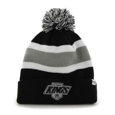 - Made and Designed by 47 Brand. - Size is a One Size Fits All - Embroidered on the front is a Los Angeles Kings logo. - Top Quality Breakaway Style Knit Striped Cuffed Beanie Hat Cap with Poofball. -