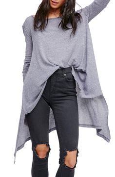 Perfect lightweight sweater. Tuck in or tie up sweater. Long gray sweater // Ripped Denim gray sweater