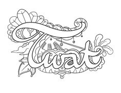 Twat - Coloring Page by Colorful Language © 2015.  Posted with permission, reposting permitted with attribution.  https://www.facebook.com/colorfullanguageart