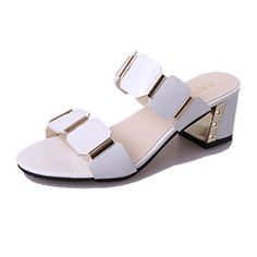 6fa816df88db Han edition fashion cool white diamond slippers in the 2017 summer thick  with open-toed sandals with a high-heeled shoes