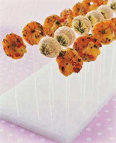 """Savory Lolli's Mango shrimp """"lollipops"""" with cilantro and artichoke-bottom """"lollipops"""" with lemon hollandaise sauce, by Peter Callahan"""