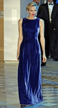 She wore blue velvet: Princess Charlene Of Monaco looked simply stunning in sapphire as she attended a charity gala on Friday