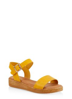 924f756469737 Platform Ankle Strap Sandals - Yellow - Size 7