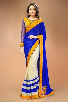 Sarees,Admyrin,Cream and Blue Georgette Chiffon Saree With Embroidered B...