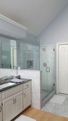 Carrera Marble Shower Marble Showers, Carrera, Double Vanity, Kansas City, Artisan, Bathroom, Washroom, Full Bath, Craftsman