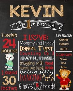 Birthday Chalkboard Poster Sign • Daniel Tiger Theme • Free economy shipping • Fast turnaround time • Great customer service • These birthday boards are custom, high resolution digital files that are personalized for each customer upon order