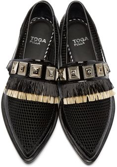 Toga Pulla | Black Fringed Harness Loafers