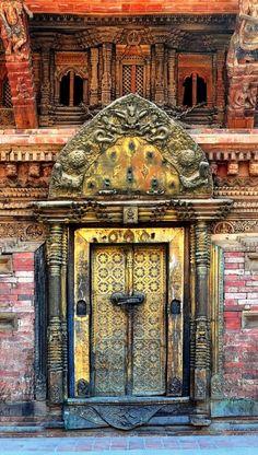 Ornate wooden door in Patan, Nepal