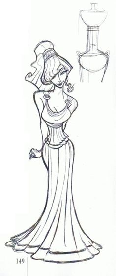 Megara concept art. I love the face a she's been get inspired from a greek columna. Not sure if what i said is correct XD