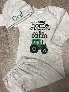 Going home to take care of the farm Coming home baby boy gray gown set https://www.etsy.com/listing/502301046/going-home-to-take-care-of-the-farm-baby