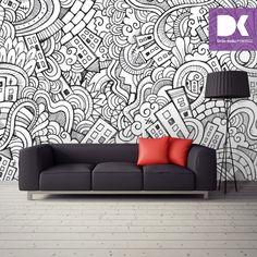 Grafiti tarzında karalamalar ile poster duvar kağıdı kullanarak salonunuza farklı bir hava katabilirsiniz...
