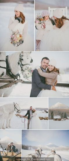 """A romantic winter wedding in the snow in Steamboat Springs, Colorado. """"Snow makes everything look beautiful. Our mountain destination wedding was snowy, picturesque and romantic."""""""
