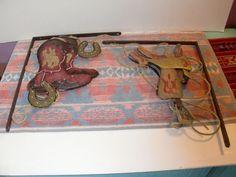 Vintage Western Metal Horse Saddle Cowboy Boots Decor Wall Frame Hanging Art | eBay