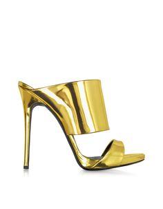 d6e96d5482 Giuseppe Zanotti Gold Metallic Leather Sandal at FORZIERI Leather Slip On  Shoes, Leather Mules,