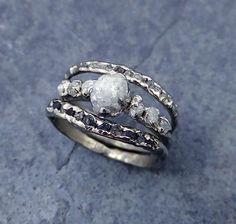 Raw Diamond White gold Engagement Ring Rough Gold Wedding Ring diamond Wedding Ring Rough Diamond Ring