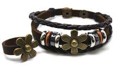 Couple Bracelet Lovers Bracelet Leather Bracelet Rope Bracelet Bangle Cuff With Metal Woven Snapper Adjustable-one bracelet and one ring. $7.35, via Etsy.
