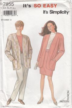 Simplicity 7955 Long Dolman Sleeve Jacket Pull On Skirt and Pants by CedarSewing