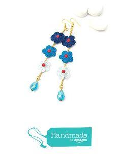 Pendientes largos de ganchillo en tonos azules de LindaPaula Joyería Textil https://www.amazon.es/dp/B07436JDV4/ref=hnd_sw_r_pi_dp_KsCCzbZSZHWSQ #handmadeatamazon