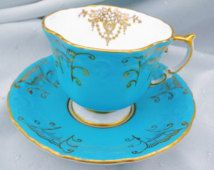 Aynsley china England textured turquoise gold art deco tea cup and saucer