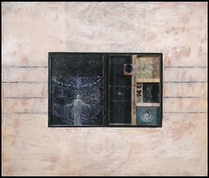 """Big Mystery, 2014 Paper, encaustic and oil, objects on wood panel 24"""" x 28"""" x  1.5"""""""