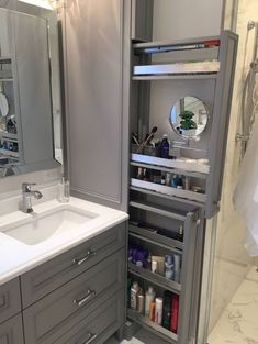 Great option for makeup storage in bathroom cabinetry! Great option for makeup storage in bathroom cabinetry! Bathroom Cabinetry, Bathroom Renos, Bathroom Mirrors, Wood Bathroom, Bathroom Cabinet Storage, Bathroom Makeup Storage, Narrow Bathroom Cabinet, Bathroom With Makeup Vanity, Clever Bathroom Storage