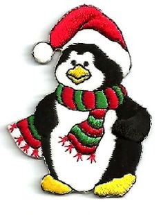 PENGUIN WINTER DRESSED IN RED IRON ON APPLIQUE