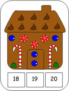Gingerbread House Count and Clip Cards Numbers 1 - 20