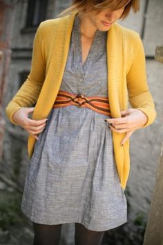 cardigan + chambray dress + fancy belt Three fashionable way to style fall dresses from The Sweetest Occasion Mustard Cardigan, Yellow Cardigan, Dress With Cardigan, Chambray Dress, Cardigan Sweaters, Belted Dress, Jumper, Fall Dresses, Fall Outfits