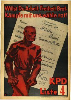 """Plakat KPD /""""Sozialistischer Aufbau/"""" Kommunismus Weimarer Republik Poster Politik"""
