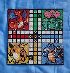 Selfmade Pokemon Ludo/Parcheesi/Sorry game out of Beads - Pokemon Ideen Pearler Bead Patterns, Perler Patterns, Pearler Beads, Pokemon Go, Pokemon Craft, Owl Patterns, Alpha Patterns, Beading Patterns, Pixel Art