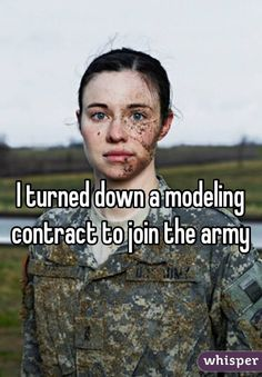 This is my hero. To me modeling is just guys or girls that get in good shape and make you feel like shit just so you'll buy a product. Those who serve and have served make me feel like I'm worth something because they are willing to give up their life for my freedom and they don't even know me.