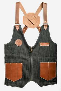 Barbershop Barber Vest in Black Denim with leather Pockets and Straps designed by Sweyn Forkbeard and Handmade in London. Grey Cotton Lining, Bro. Leather Suspenders, Leather Vest, Brown Leather, Barber Shop Pictures, Chaleco Casual, Barber Accessories, Outdoor Fotografie, Barber Apron, Gents Kurta