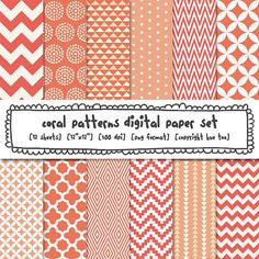coral digital paper, peach pink orange patterns, peach coral orange modern photography backgrounds, chevron quatrefoil, instant download 399
