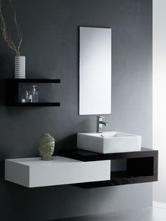 Fancy Modern Bathroom Sinks And Faucets Using Rectangular Vessel Basins On  Floating Vanity Shelves With Black Laminate Sheets Under Frameless Mirror  Also ...