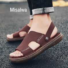 Misalwa Cow Genuine Leather Men Sandals Men Monk Footwear Casual Slipper Classic Anti-skid TPR Male Summer Shoe Large Size Outfit Accessories From Touchy Style Mens Brown Casual Shoes, Tennis Shoes Outfit, Cheer Shoes, Leather Sandals Flat, Summer Shoes, Outfit Summer, Comfortable Shoes, Leather Men, Men Sandals
