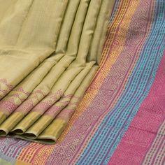 Rema Kumar Pavlova Yellow Hand Printed Dupion Tussar Silk Saree 10001715 - AVISHYA