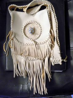 Dream Catcher Fringed Leather Purse in The Native by CLeasBeadwork, $150.00