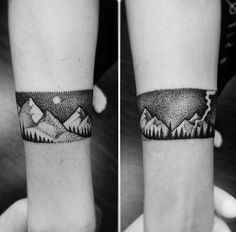 Banded Nature Scene Mountain Tattoo For Forearm On Man