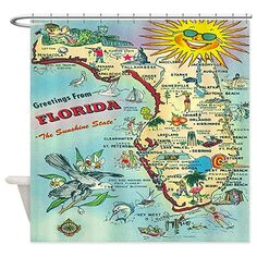 Vintage Florida Greetings Map Shower Curtain> Coastal, Vintage and Modern Rustic Shower Curtains> Rebecca Korpita Coastal Design Rustic Shower Curtains, Fabric Shower Curtains, Custom Area Rugs, Vintage Florida, Beach Cottages, Coastal Decor, Coastal Living, Fabric Decor