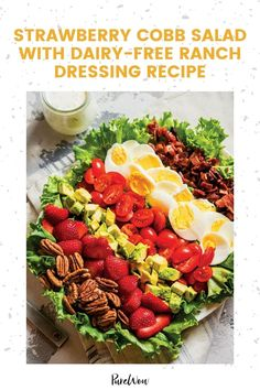 A whole head of romaine is topped off with all the classic fixings—plus a cup of ruby red sliced strawberries and dairy-free ranch dressing. #salad #recipe #strawberry Gluten Free Recipes For Lunch, Vegan Dinner Recipes, Healthy Salad Recipes, Vegan Dinners, Healthy Dinners, Healthy Foods, Carrot Recipes, Lamb Recipes, Side Dish Recipes