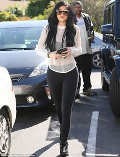Monochrome: The youngest daughter of Bruce and Kris Jenner sported a casual but stylish en...