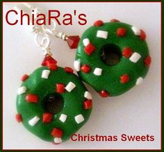 Polymer Clay Green Christmas Earrings by CharmthisClayCharms, $5.00