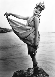 """Gloria Swanson as one of the """"Sennett Bathing Beauties"""" for The Pullman Bride, 1917."""