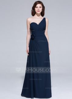 A-Line/Princess One-Shoulder Floor-Length Chiffon Evening Dress With Ruffle Flower(s) (007037243)