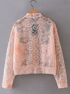 Shop Pink Embroidery Button Front Sheer Jacket at ROMWE, discover more fashion styles online. Brokat, Look Chic, Summer Sale, Romwe, Kimono Top, Embroidery, Sweatshirts, Lace, Pink